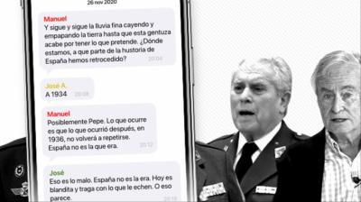 Beca y Gómez Mira, dos de los más activos del grupo, junto a algunos de los mensajes intercambiados por sus compañeros de chat.