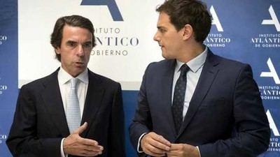 José María Aznar y Albert Rivera en un acto del Instituto Atlántico, al que el expresidente invitó al líder de Ciudadanos.