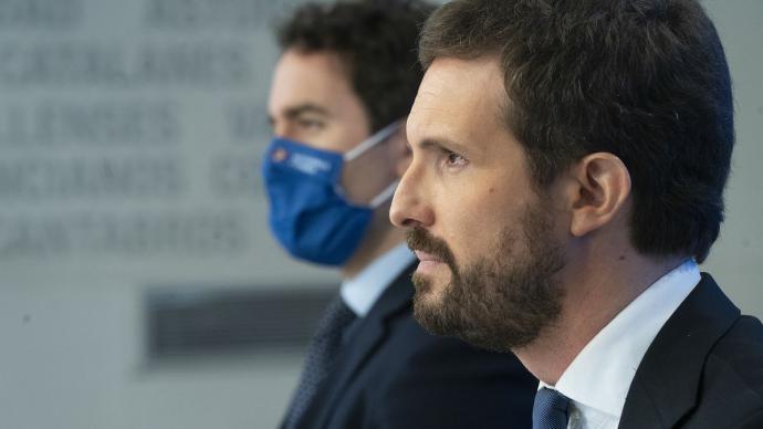 Pablo Casado y Teodoro García Egea, este martes, durante el Comité Ejecutivo Nacional del PP.PP