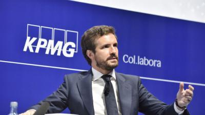 El líder del PP, Pablo Casado, ha respondido preguntas de los empresarios catalanesCercle d'Economia