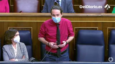Pablo Iglesias hoy, en el Congreso (captura de pantalla)