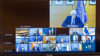 El jefe de la diplomacia europea, Josep Borrell, durante una reunión por videoconferencia con los ministros de Exteriores este martes.European Union