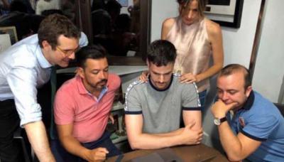 Casado, Erguido, Cea y Carromero, el día 5, durante el escrutinio de las primarias.