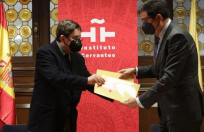 El director del Instituto Cervantes,Luis García Montero,y el presidente de Paradores de Turismo de España,Óscar López Águeda. Foto: Instituto Cervantes / Juanjo del Río