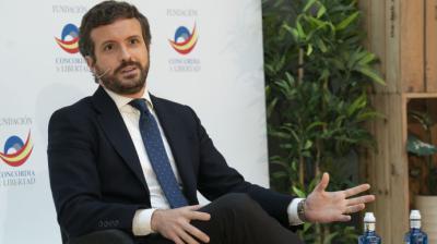 El líder del PP, Pablo Casado, este lunes, durante una conferencia sobre el reto demográfico.David Mudarra / PP