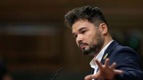 """El diputado de ERC Gabriel Rufián, que ha lamentado que el PSOE vuelva a ser el partido """"del 155""""."""