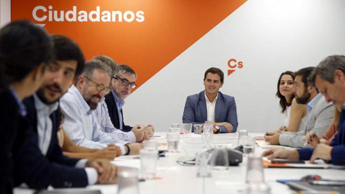 Albert Rivera con parte de la dirección de Ciudadanos.