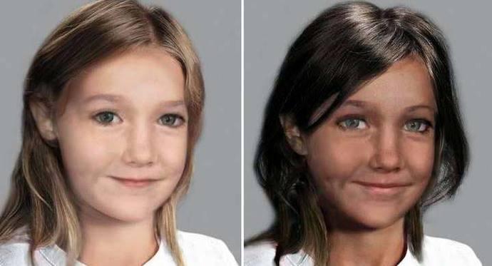 Otros dos posibles retratos hechos por la Policía de Portugal con el presunto rostro que tendría Madeleine en la actualidad.