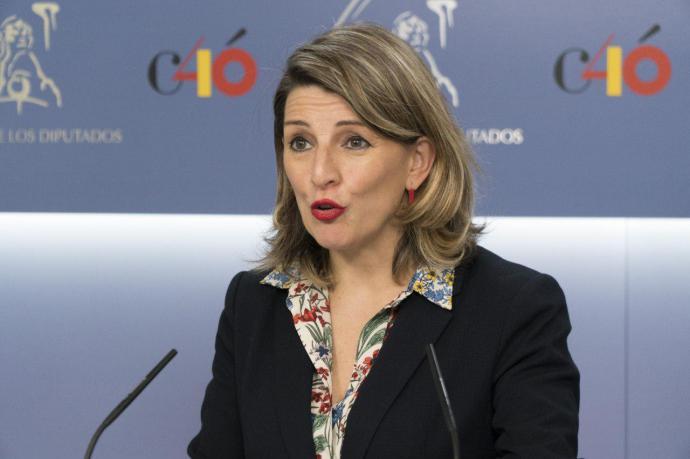 La diputada de Unidas Podemos Yolanda Díaz