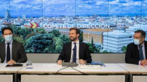 Teodoro García Egea, Pablo Casado y Enrique López, este lunes, durante el Comité de Dirección del PP.PP