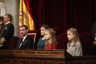 Felipe VI y el resto de la Familia Real, en la apertura solemne de la legislatura en el Congreso.