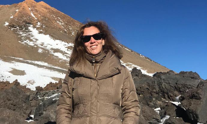 La autora del artículo, en El Teide
