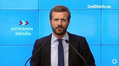 El líder del PP, Pablo Casado, durante la reunión de la Junta Directiva.(Captura de pantalla)