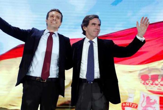 Aznar proclama a Casado 'un líder como un castillo' y advierte : 'Solo el PP es la garantía del cambio'