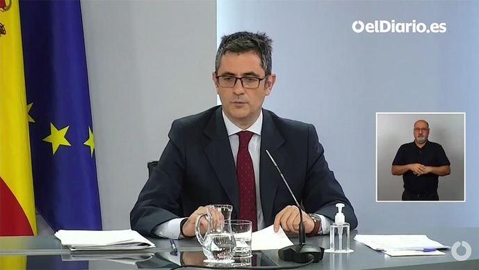 'Es una ley necesaria que nos hace mejores como país', ha manifestado Bolaños en la rueda de prensa tras la celebración de la reunión. (Captura de pantalla)