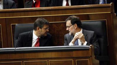 El exministro de Justicia Rafael Catalá junto al expresidente del Gobierno Mariano Rajoy.