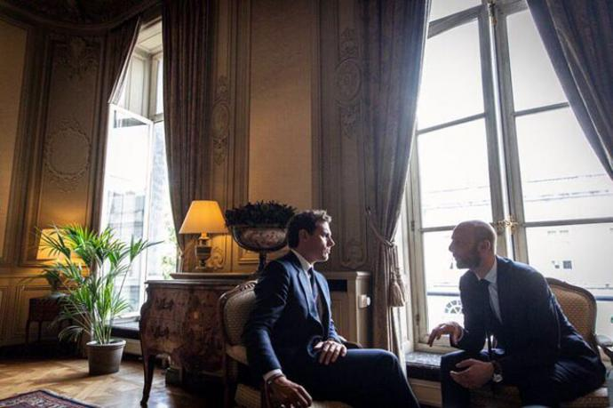 El presidente de Ciudadanos, Albert Rivera, y el secretario general de En Marche, Stanislas Guerini.