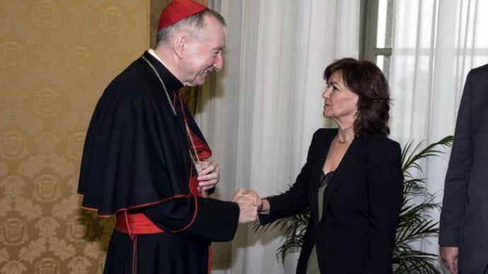 Calvo y el secretario de Estado del Vaticano en su reunión de octubre
