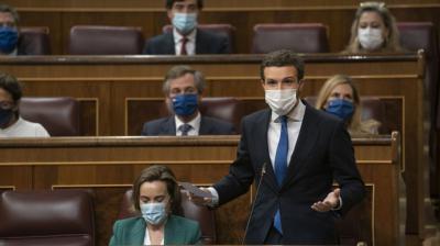 Pablo Casado, el pasado miércoles, en el Congreso de los Diputados.PP