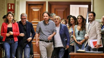 Pablo Iglesias, en el Congreso, tras reunirse con los líderes sindicales en las negociaciones fallidas para un Gobierno de coalición en 2019.DANI GAGO (PODEMOS)