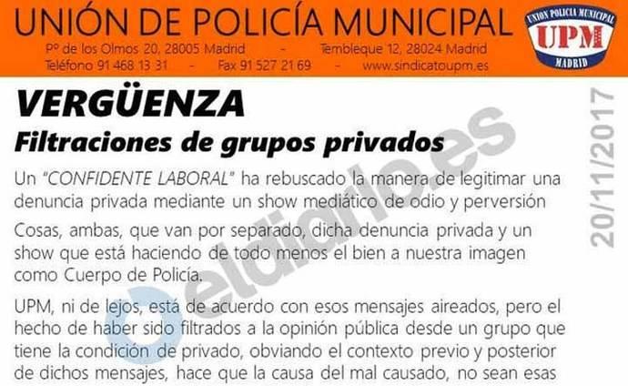 Los sindicatos policiales se vuelcan en la defensa de los agentes que amenazaron a Carmena