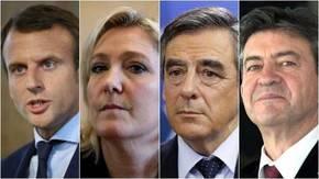 Candidatos a las presidenciales de Francia de izquierda a derecha: Emmanuel Macron, Marine Le Pen, Francois Fillon y Jean-Luc Mélenchon.