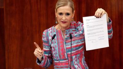 Cristina Cifuentes durante su comparecencia en la Asamblea de Madrid