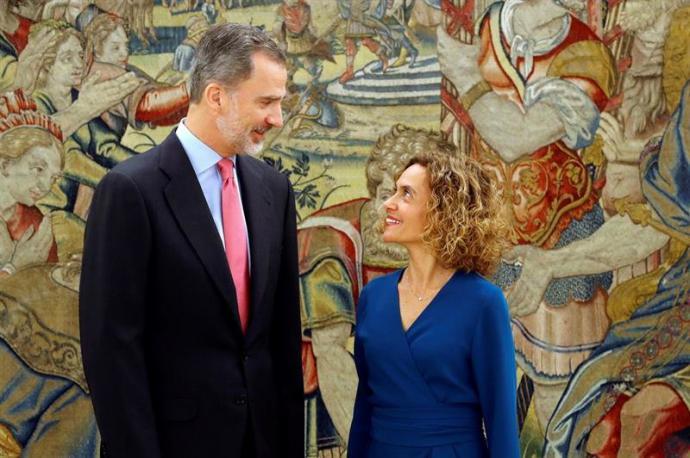 El rey Felipe recibe a la presidenta del Congreso, Meritxell Batet