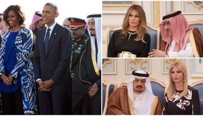 Michelle Obama y su esposo visitaron Arabia Saudí el 27 de enero del 2015.