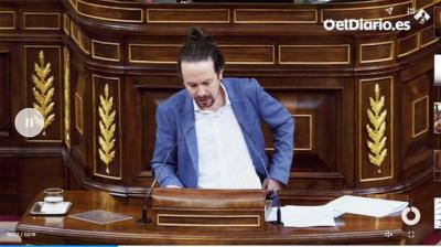 Pablo Iglesias este jueves en el Congreso durante la moción de censura (captura de pantalla)