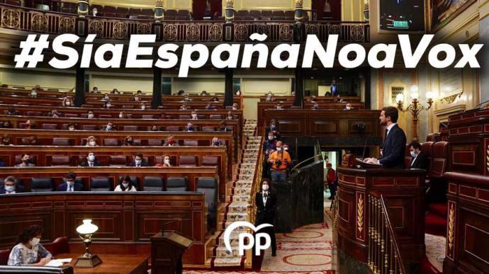 Casado rompe con Abascal y el PP vota 'no' a la moción de censura de Vox: 'No queremos ser como usted'
