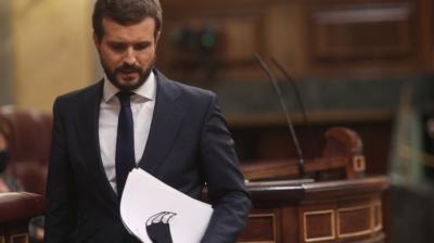 El líder del PP,PabloCasado, durante su intervención en la segunda sesión del debate de moción de censura presentada por Vox, este jueves en el Congreso.