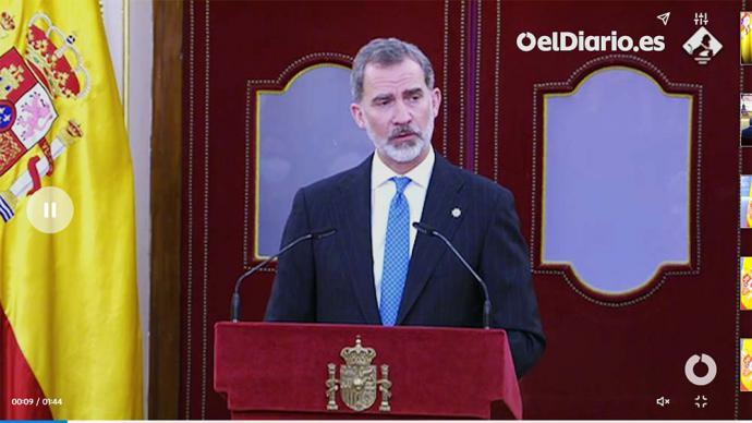 Felipe VI, hoy en el Congreso (captura de pantalla)