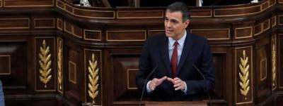 Sánchez, ayer, en Congreso.