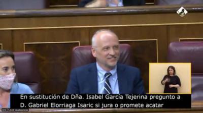 Gabriel Elorriaga. en la jura de su cargo, captura de pantalla