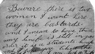 El mensaje que 'Jack, el Destripador' envió antes de asesinar a su última víctima