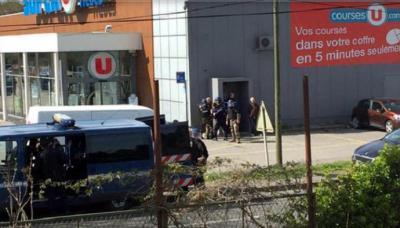 El supermercado Super U, donde se han tomado rehenes en Trèbes, Francia. (Foto: Twitter)