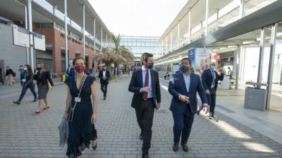 Pablo Casado, este jueves, durante su visita a Fitur, en Madrid.PP