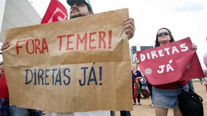 Manifestantes piden salida de Temer y elecciones directas en todo Brasil