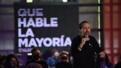 El candidato de Unidas Podemos el 4M, Pablo Iglesias, durante un acto este sabado.Dani Gago (Podemos)