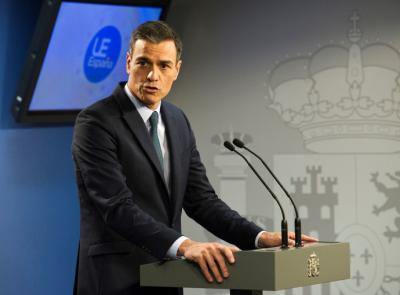 El presidente del Gobierno, Pedro Sánchez, durante una rueda de prensa en Bruselas.