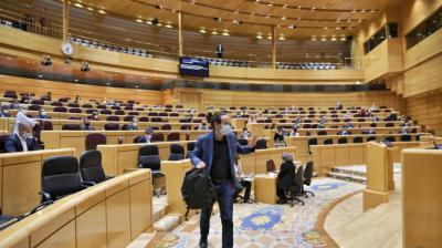 El vicepresidente segundo del Gobierno, Pablo Iglesias, se despide tras su última intervención en el Senado antes de cesar para ser candidato de Unidas Podemos en Madrid.Dani Gago (Podemos)