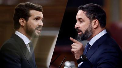 Pablo Casado y Santiago Abascal, líderes de la derecha y ultraderecha españolas (imagen de archivo)