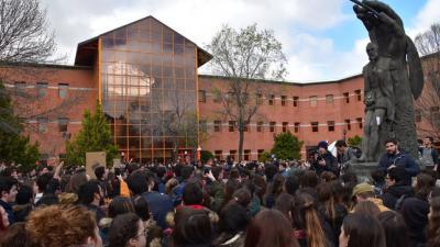 Una protesta de estudiantes en el campus de Vicálvaro de la URJC.