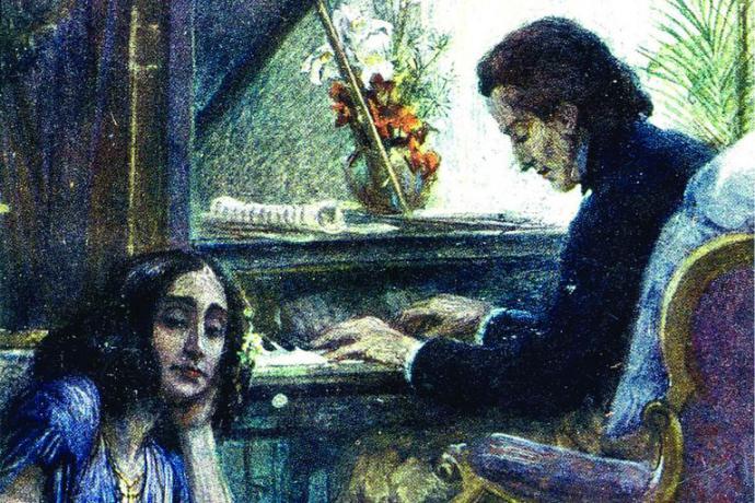 Chopin y George Sand, seudónimo de la escritora francesa  Aurore Dupin