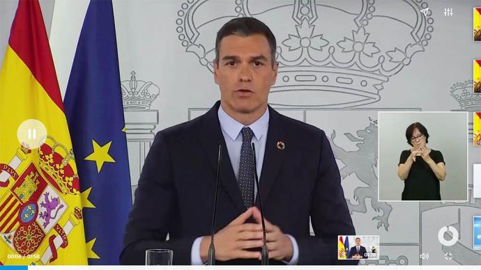 Presidente Sánchez durante su comparecencia (captura de vídeo)