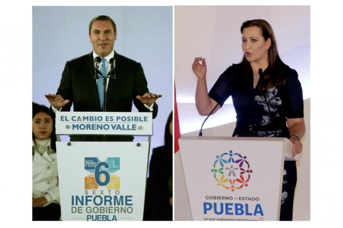 Exgobernador de Puebla (México), Rafael Moreno Valle (i) y la actual gobernadora de este mismo estado, Martha Érika Alonso (d).