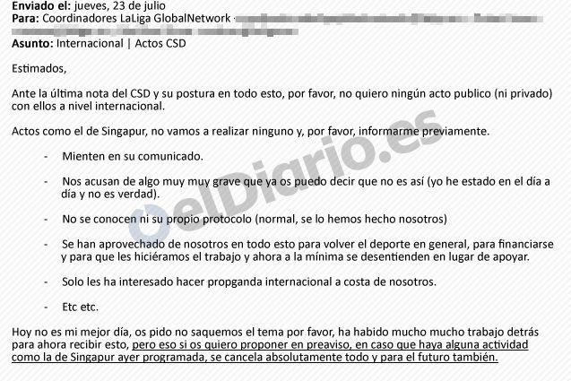 Email enviado desde La Liga para prohibir la colaboración en eventos en el exterior organizados por el Gobierno