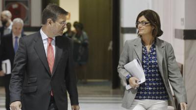 Carmen Sánchez-Cortés, en 2016 durante su etapa como secretaria de Estado junto al ministro de Justicia entonces, Rafael Catalá