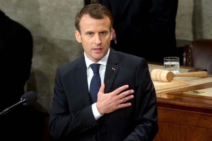 El presidente francés, Emmanuel Macron, habló este miércoles ante el Congreso de Estados Unidos como parte de su visita a este país.